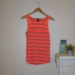 H&M Basic Striped Tank Neon Coral and Gray